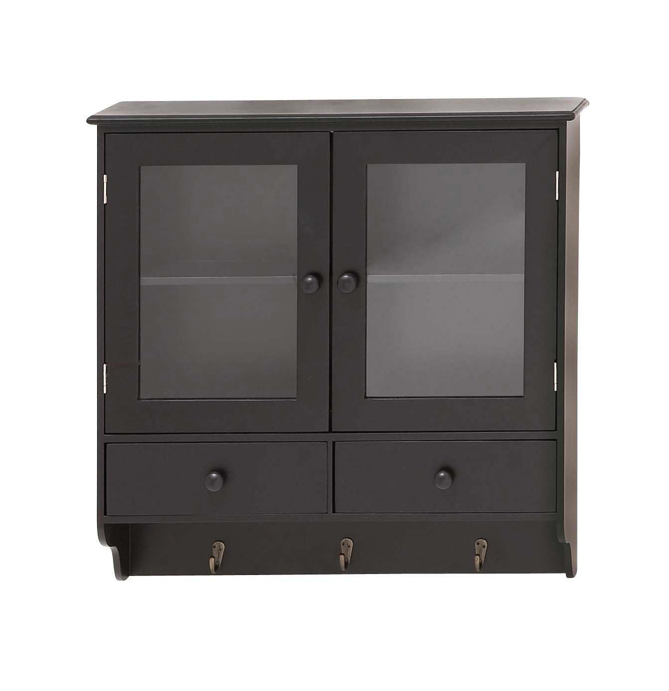 Benzara The Sleek Wood Glass Wall Cabinet 62637