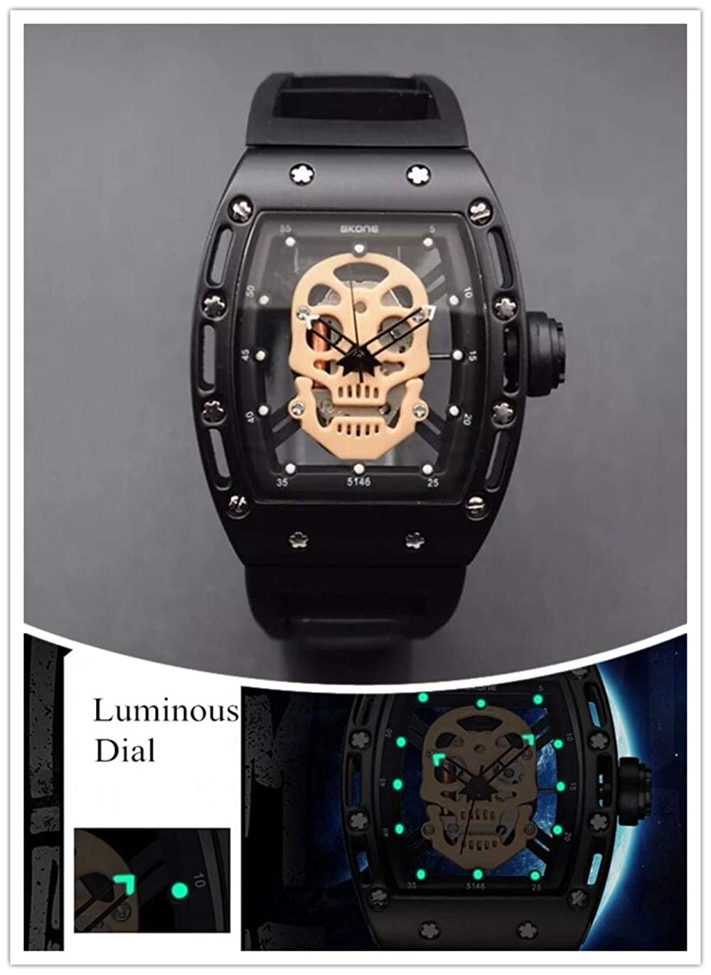 Skone Skull Watch, Sports Mens Watches Waterproof, Fashion Leather Watches for Men Male relojes de Hombre