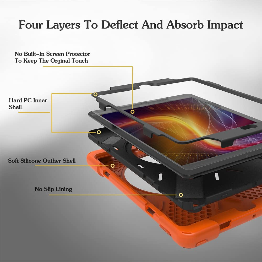 Black ZenRich New iPad 5th//6th Generation Case,360 Degree Rotatable with Kickstand,Hand Strap and Shoulder Strap case 3 Layer Hybrid Heavy Duty Shockproof case for iPad 9.7 2017 2018