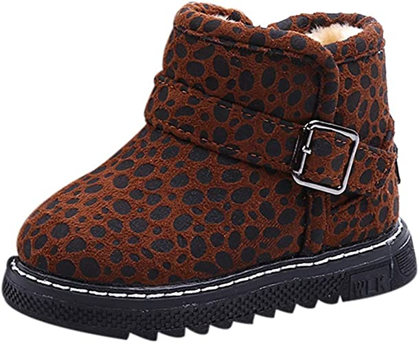 Brown Leopard Faux Suede Fur Top Booties Toddlers Girls Winter Kids Boots Shoes