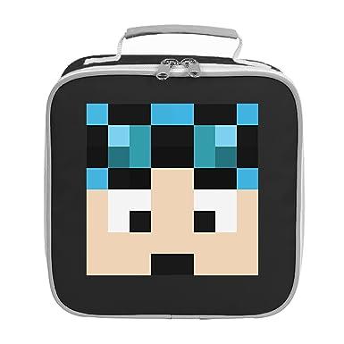 dantdm dan the diamond minecart blue hair player skin face lunch bag