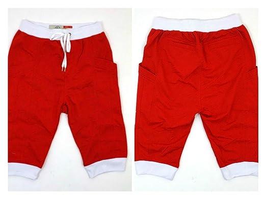 Red with White Trim Men's Cotton Fleece Drop Crotch Jogger Shorts ...