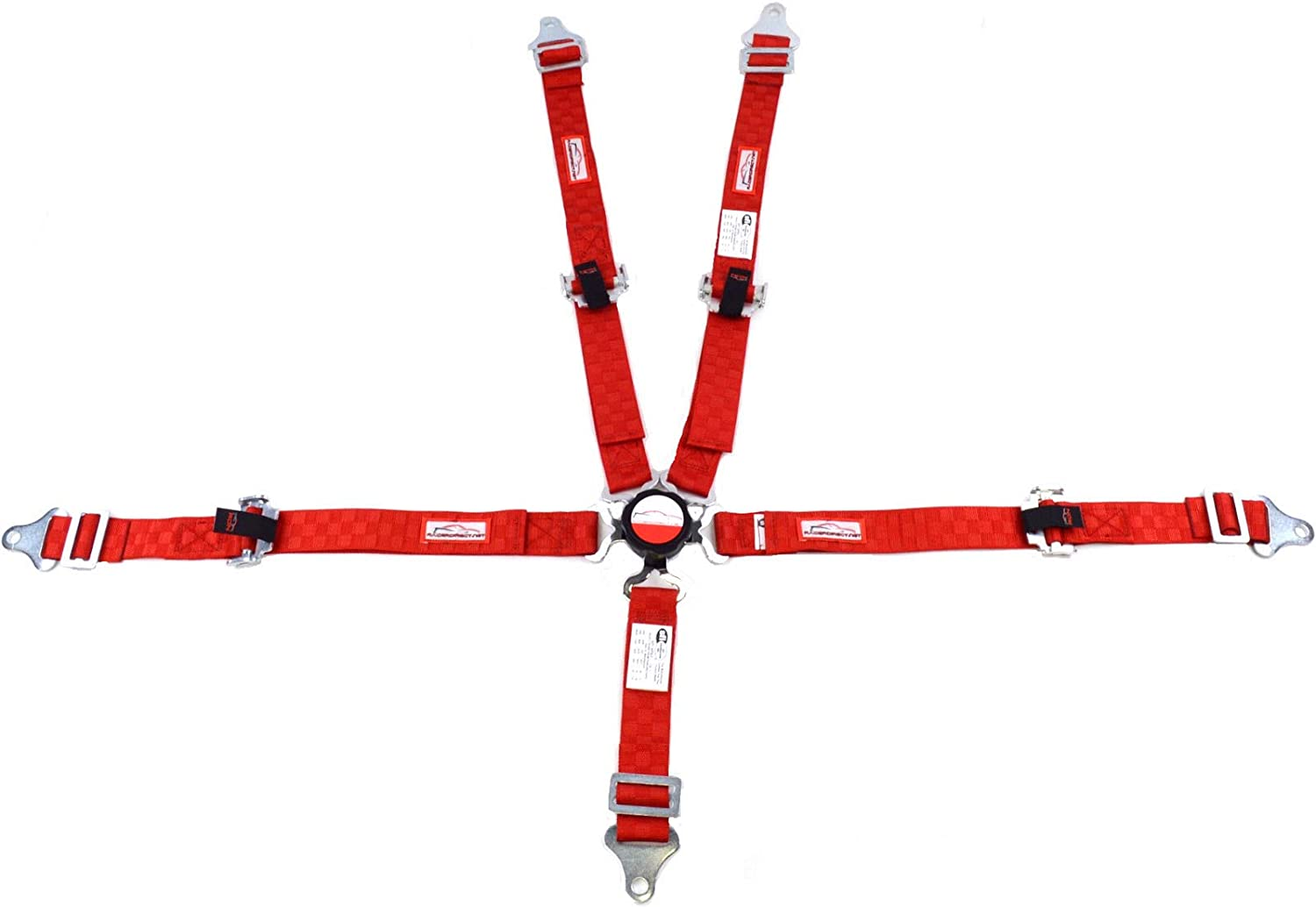 Racerdirect RED Checkerboard JR Racing 5 Point Harness SFI 16.1 CAM Lock Pull UP Lap Belts ROLL BAR Mount