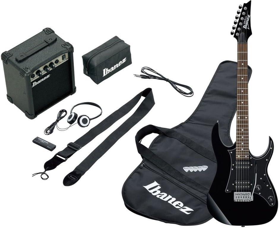Ibanez ijrg200BK Jumpstart Kit Negro–Kit de guitarra eléctrica negra con amplificador 10W y accesorios