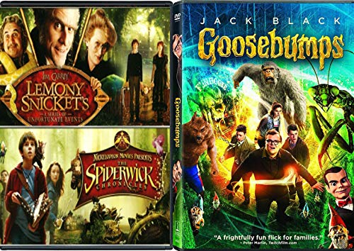 Frightfully Fun Flicks R.L Stine The Movie Goosebumps Triple Feature Lemony Snicket's A Series Of Unfortunate Events + Spiderwick Chronicles Creepy family 3-Pack