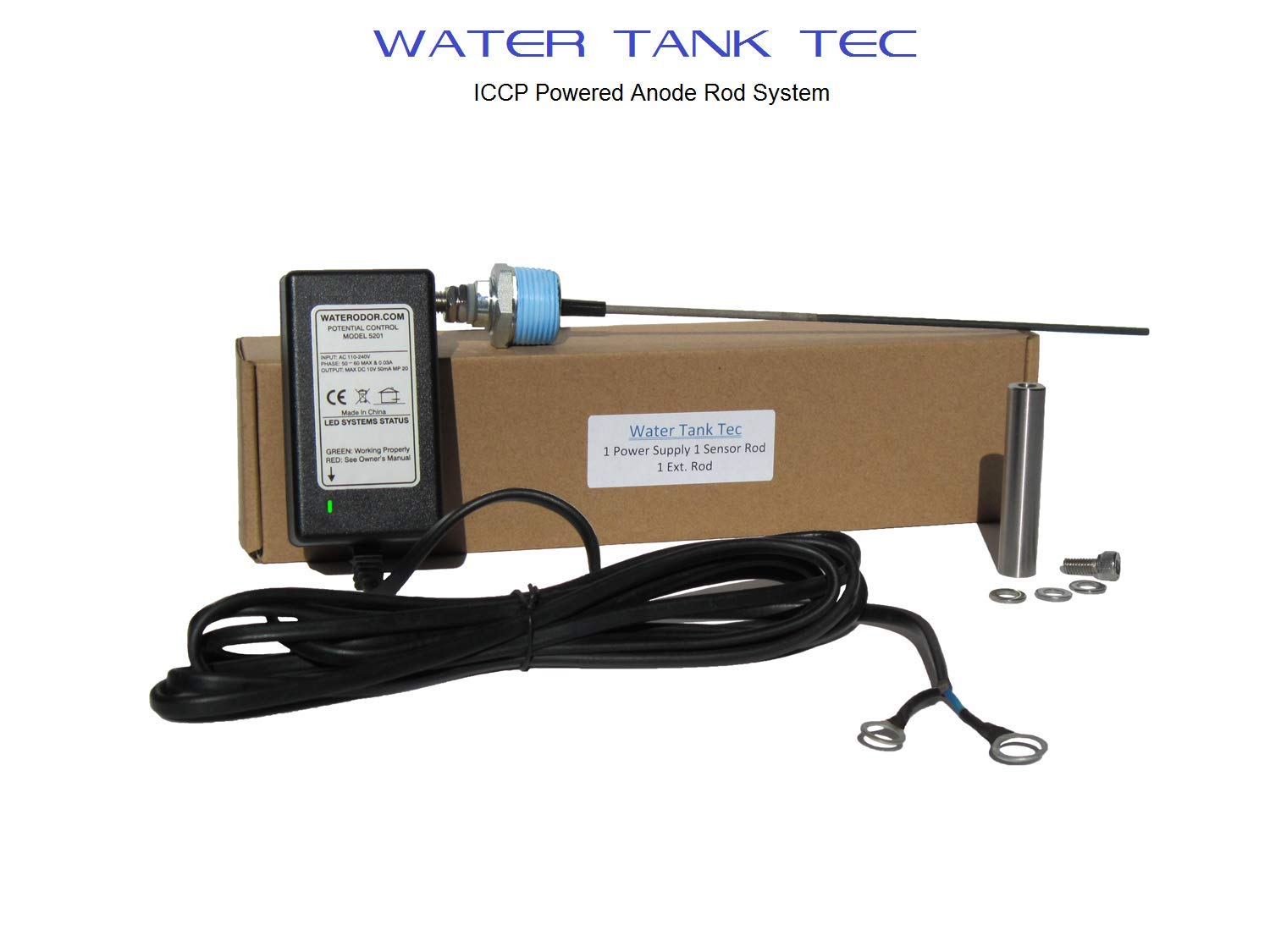 - No More Rotten Egg Smell 20-100 gal tank CerAnode Technologies CerAnode Powered Anode Rod Expandable for Water Heater