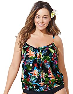 b92f41bc9c329 Swimsuits for All Women's Plus Size Tropical Print Blouson Tankini Top