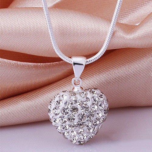 (Phetmanee Shop Women Fashion 925 Sterling Silver Crystal Heart Pendant Necklace Chain Jewelry)