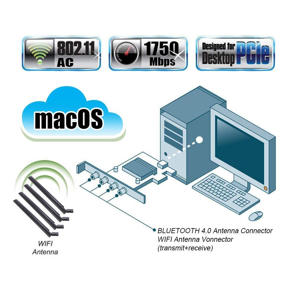 Bluetooth 4.0 Tarjeta de Red inal/ámbrica Gigabit PCIE no Necesita Controlador para macOS MQUPIN fenvi T919 Tarjeta inal/ámbrica BCM94360CD computadora 5G Tarjeta WiFi Bluetooth