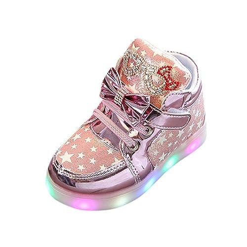 Hirolan Blinkende Kinderschuhe Kleinkind Turnschuhe Star Leuchtend Schuhe Mode Baby Schuhe mit Leuchtsohle Kinder Beiläufig Bunt Lauflernschuhe