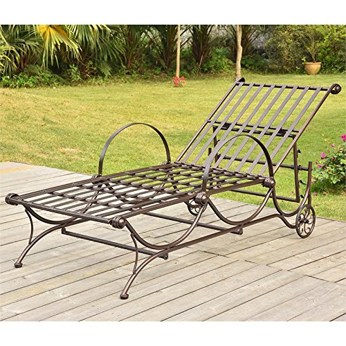 International Caravan Mandalay Metal Patio Chaise Lounge in Bronze For Sale