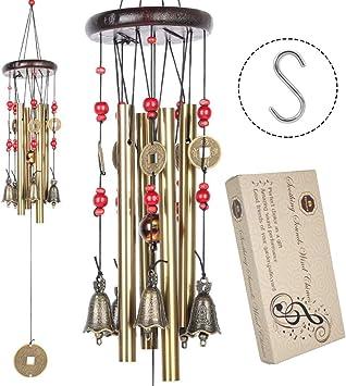 BWINKA chino tradicional increíble 4 tubos 5 campanas jardín de bronce jardinería al aire libre viento carillones 60 cm: Amazon.es: Electrónica