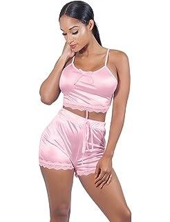 395ec0b45d VWIWV Women Sleeveless Lace Crop Top Camisole and Shorts Pajamas Sleepwear  Set