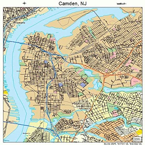 Amazon.com: Large Street & Road Map of Camden, New Jersey NJ ...