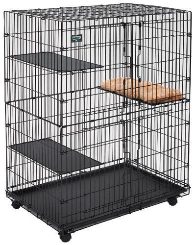 MidWest Cat Playpen / Cat Cage Includes 3 Adjustable Resting Platforms, Removable Leak-Proof Pan, Easy  2-Door Top / Bottom Access & 4-locking Wheel ()