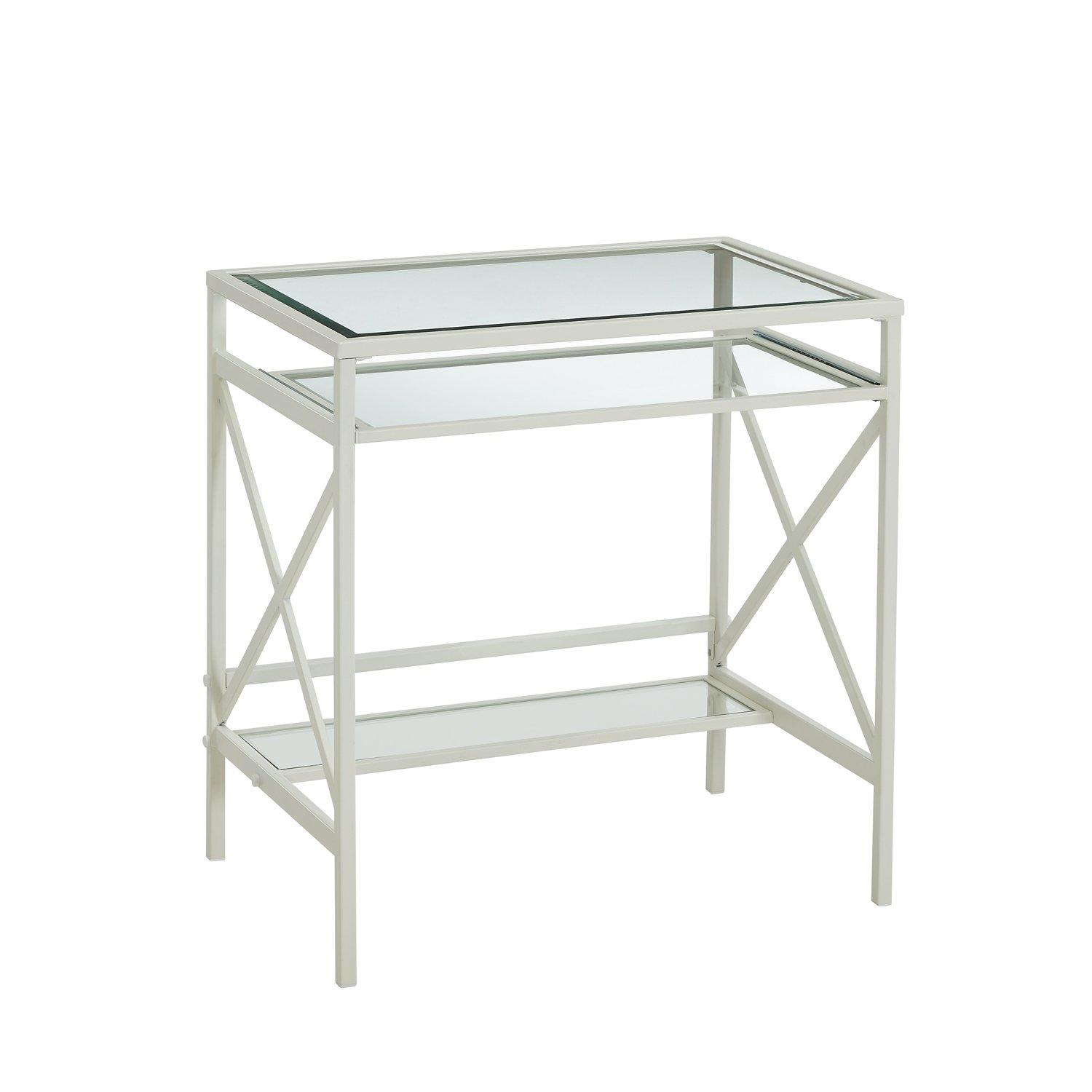 Amazon Glass Desk with Keyboard Tray Glass Top Writing Desk