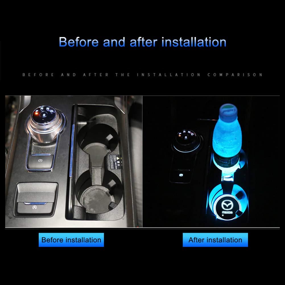 Rivadal 2Pcs LED Car Logo Cup Holder Pads Waterproof Bottle Drinks Coaster Built-in Light 7 Colors USB Charging Mat Car Atmosphere Lamp