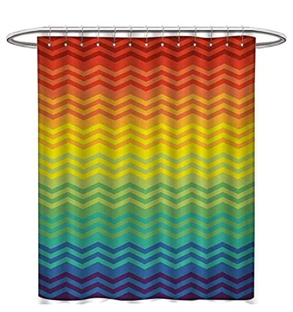 Staropor Fiesta Shower Curtain Customized Mexican Inspired Colorful Chevron Zigzags Three Dimensional Pattern Tribal Culture Fabric