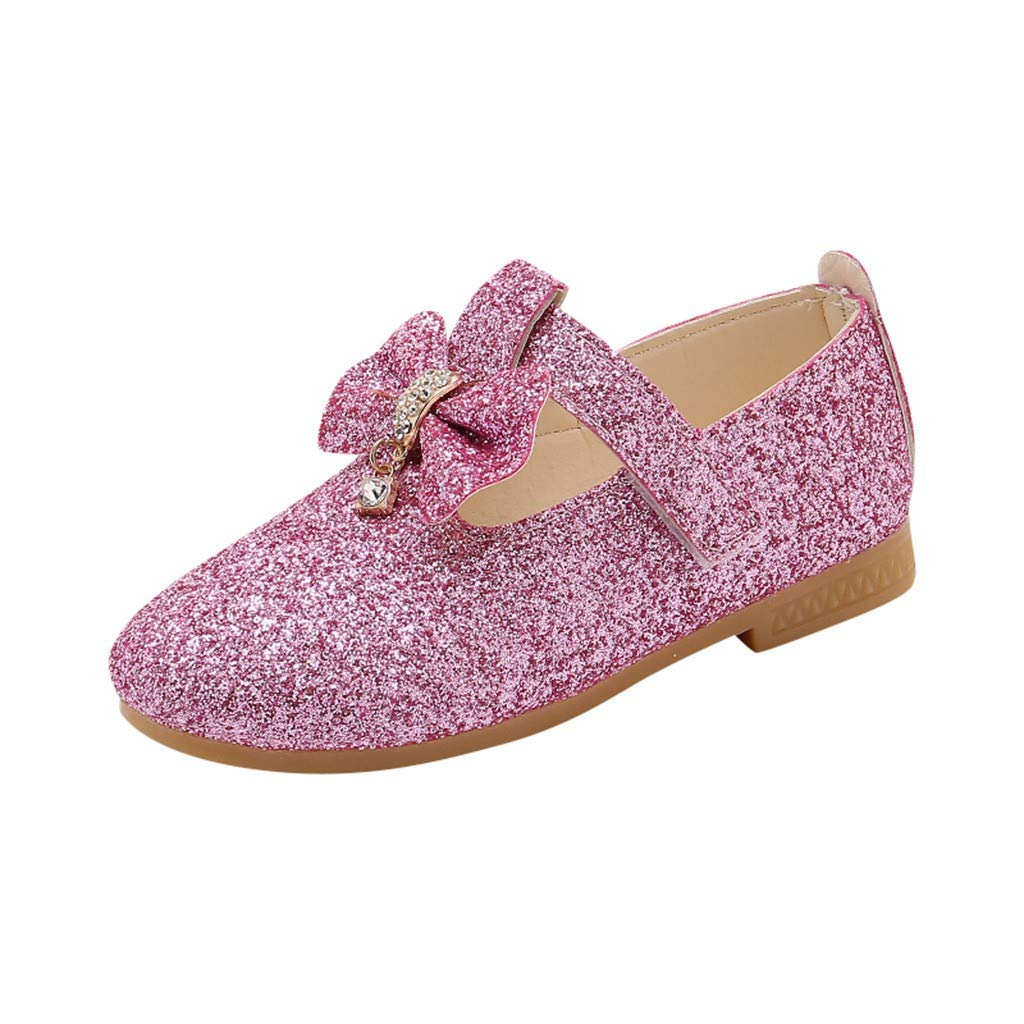 Mysky Kids Baby Girls Sweet Crystal Pendant Bowknot Sequins Party Princess Shoes Pink