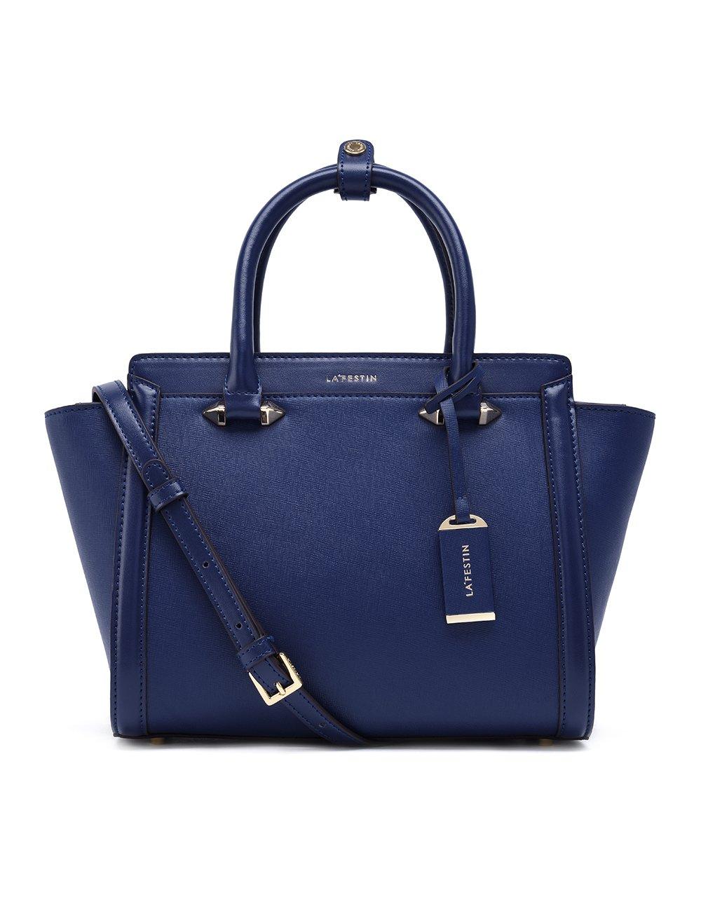 LA'FESTIN Genuine Leather Bag for Women 2017 Fashion Top Handle Handbags (Blue)