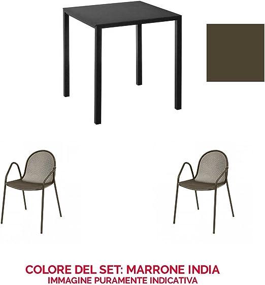 EMU Juego Mesa Nova 80 x 80 + 2 sillones Nova Marrón India: Amazon ...