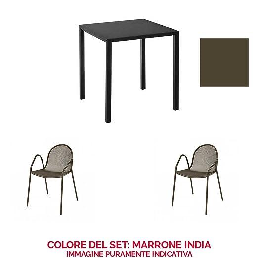 EMU Juego Mesa Nova 80 x 80 + 2 sillones Nova Marrón India ...