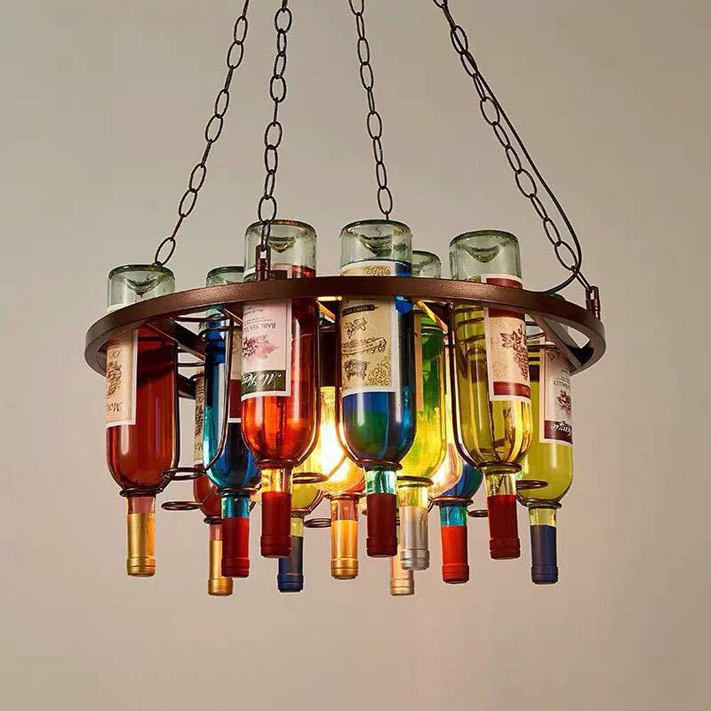 JLPAN DIY Bottle Pendant Light Vintage Industrial Colored Glass Chandelier, Wine Bottle Creative Lamp for Cafe Loft Restaurant Kitchen Island Bar Dining Room Bar Retro Chandelier,Round