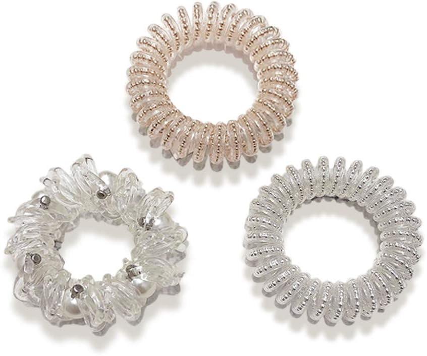 Banda de pelo transparente en espiral, bandas elásticas de perla, cola de caballo en espiral, sin trazo, anillo de pelo elástico, lazos de coleta para mujeres y niñas, todo tipo de cabello (3 estilos)