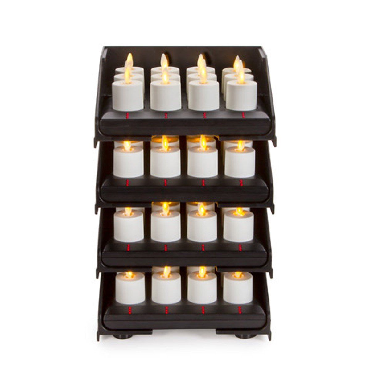 48pc Luminara Rechargeable Flameless Tea Lights w/ Charging Base: 48 Rechargeable Tea Light Votive Candles, Intelligent Charging Base Tower, Sliding Trays, Weddings, Bridal, Restaurants, Receptions