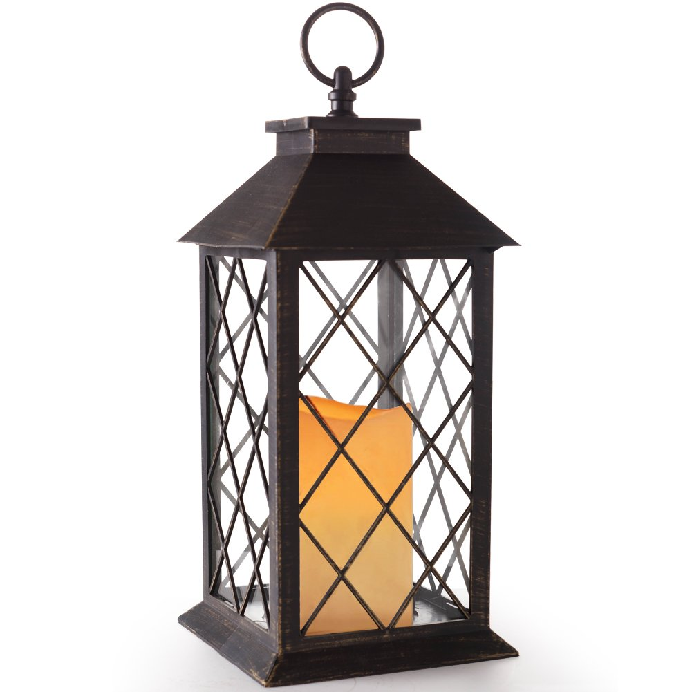 BRIGHT ZEAL 14'' TALL Vintage Candle Lantern with LED Flickering Flameless Candles and Timer (Distressed BRONZE) - LED Candle Lanterns Decorative - Indoor Outdoor Hanging Lights - Candles & Holders BZS by Bright Zeal
