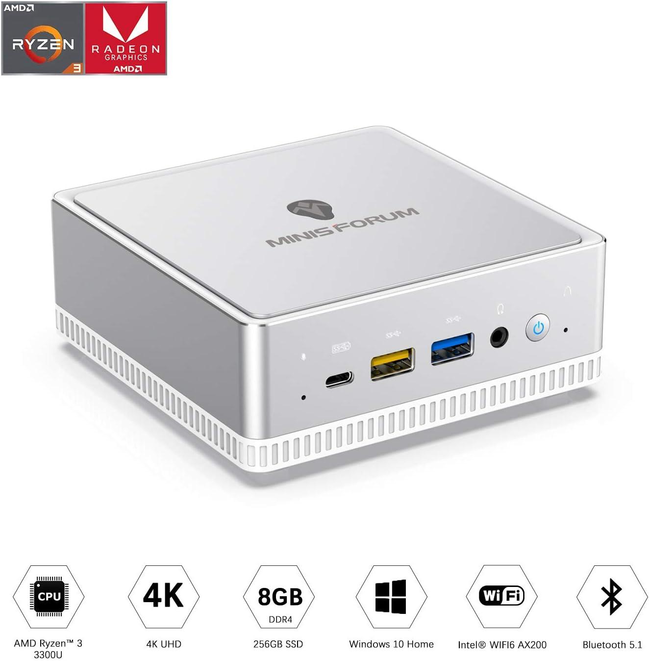 UM300 Mini PC AMD Ryzen 3 3300U Windows 10 Mini PC Desktop Computer, Radeon Vega 6 Graphics,8GB DDR4 256GB SSD,HDMI2.0/DP/USB-C Triple 4K@60Hz Output,with1000M LAN Intel WIFI6 AX200 BT5.1
