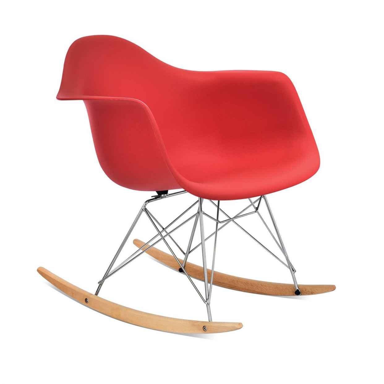 KIMCO Furniture Rocking Chair Eames Style RAR - Beech Wood Rocker - Chromed Wire Leg - Lounge Chair Arm Arms Chair Wooden Wood Wire Dowel Leg (Black) KC289D24