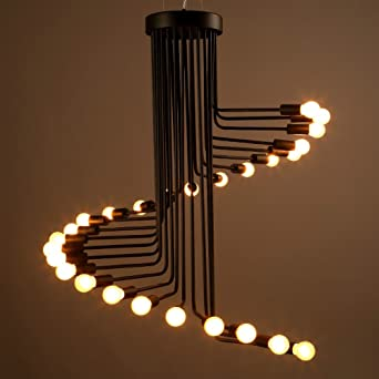 Lighting groups american industrial style loft wrought iron lighting groups american industrial style loft wrought iron chandelier hall cafe bar spiral staircase lamp led aloadofball Choice Image