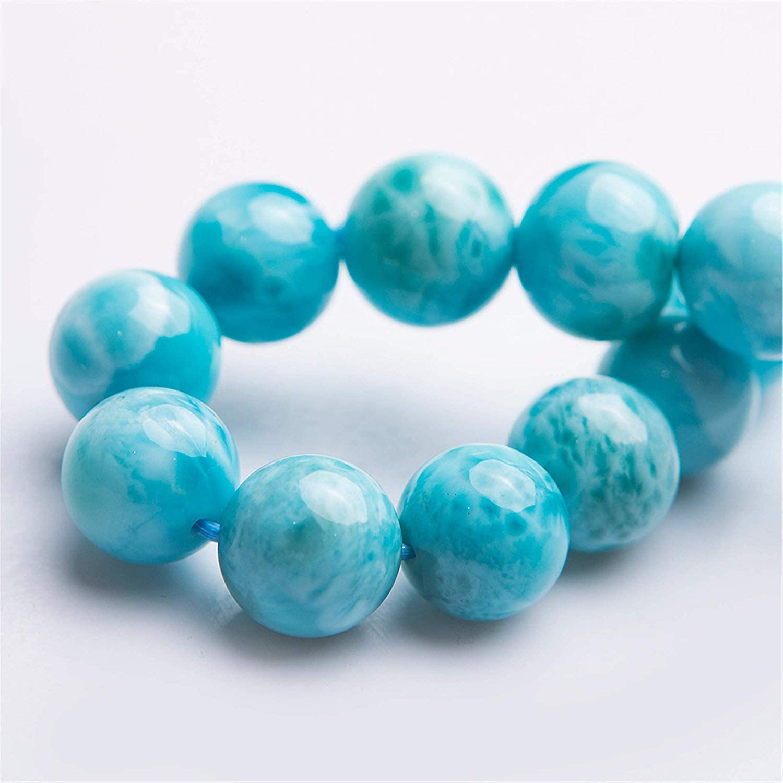 DUOVEKT 12mm Genuine Larimar Bracelets for Women Men Anniversary Birthday Gift Water Pattern Blue Crystal Stone Gemstone Round Beads Bracelet Jewelry AAAA