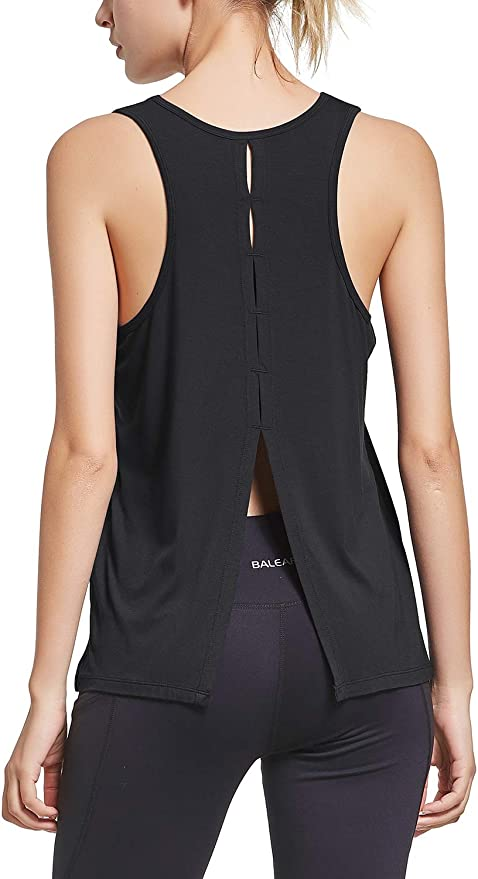 BALEAF Womens Workout Openback Tank Tops Athletic Tie Back Sleeveless Shirts Hiking Yoga Gym Running