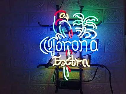 LDGJ Neon Signs for Wall Decor Handmade Sign Home FS Neon Sign Corona Extra  Parrot Bird Custom Beer Bar Pub Recreation Room Lights Windows Glass Party