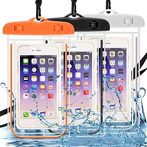 Waterproof Case 3 Pack, DLAND Cell Phone Dry Bag Waterproof Bag Pouch, Clear Sensitive PVC Touch Screen Compatible with iPhone, Samsung,Huawei,and Other Devices up to 6.0in- Glow in Dark.