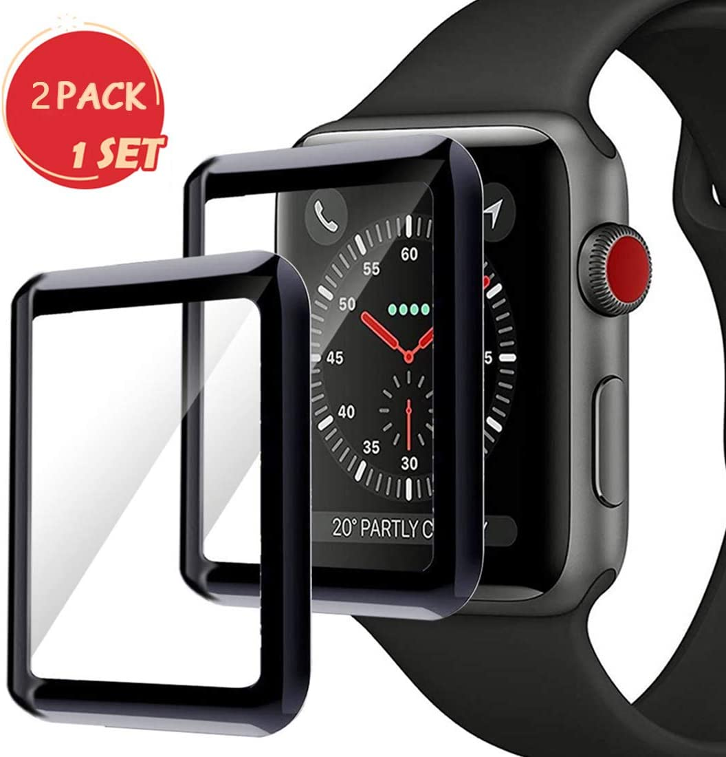 Smartwatch Screen Protector for Apple Watch 38mm Series 3/2/1, Max Coverage Bubble-Free Anti-Scratch 3D Curved Tempered Glass Film [9H ...