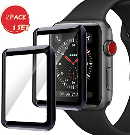 for Apple Watch 42mm Series 3/2/1 Smartwatch Screen Protector, Max Coverage Bubble-Free Anti-Scratch 3D Curved Tempered Glass Film [9H ...