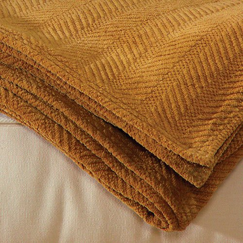 LIFEKIND Certified Organic Chenille Throw Blanket - Camel