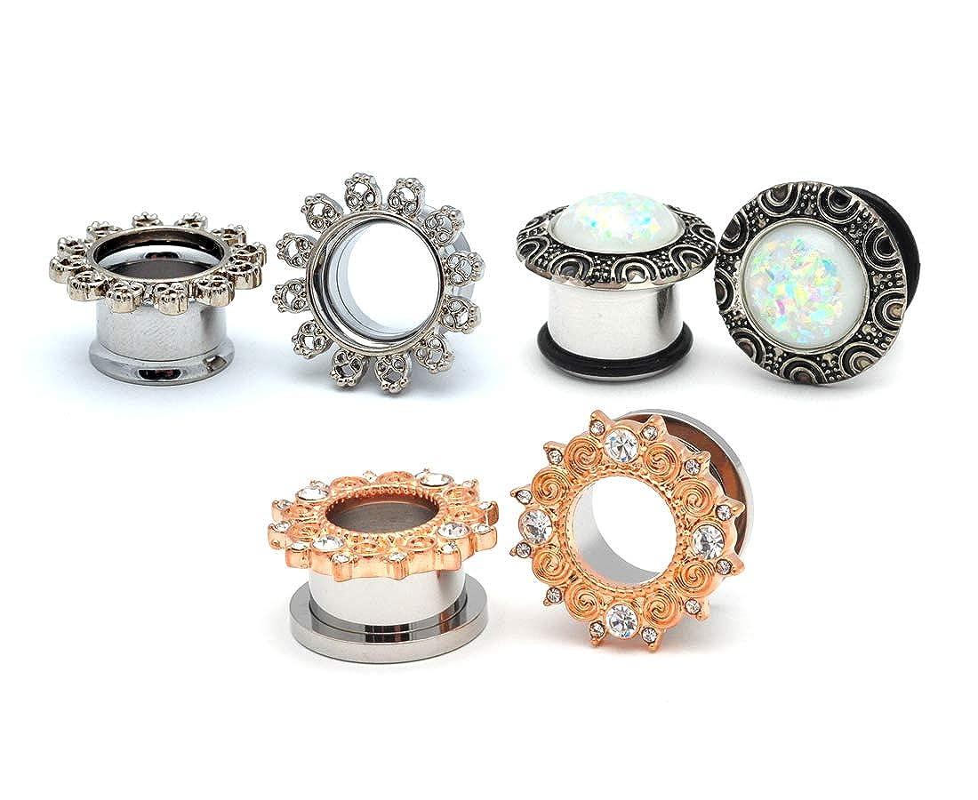 WL-101 Mystic Metals Body Jewelry Set of 3 Pairs Fancy Steel Plugs