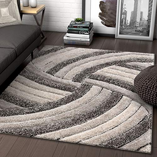 (Well Woven Tilly Grey Geometric Stripes Thick Soft Plush 3D Textured Shag Area Rug 5x7 (5'3