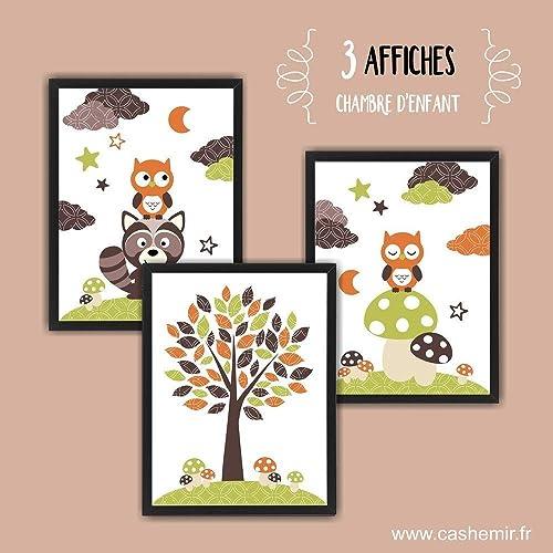 Affiches décoration chambre bébé garçon illustration poster enfant  décoration murale hibou raton laveur vert orange ou hérisson - lot de 3 -  ...