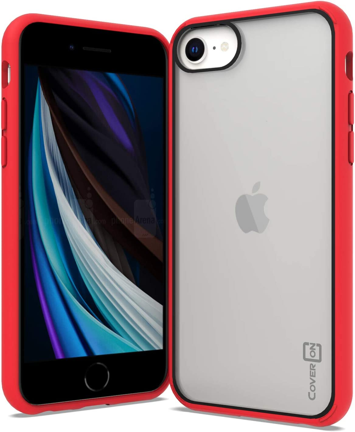 CoverON Clear Rugged Designed for Apple iPhone SE CASE (2020) / iPhone 8 Case, Hybrid Phone Cover TPU Bumper -Black/Red