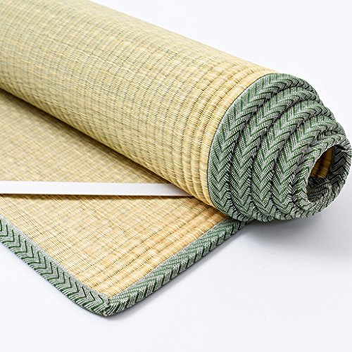 BJL-mat Straw Mat,Bedding Straw Straw Mat Summer Sleeping Mats Bed-Straw Mat Folding Lace Home Bedroom1.2/1.5/1.8m OYO (Color : B, Size : 1.2×1.95m)