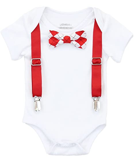 Amazon Com Noah S Boytique Baby Boys Valentines Day Suspender Bow