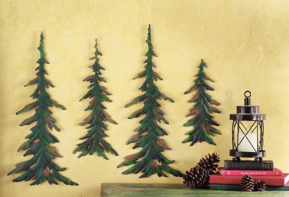 Amazon.com: Evergreen Pine Tree Metal Wall Decor Set of 4: Home ...