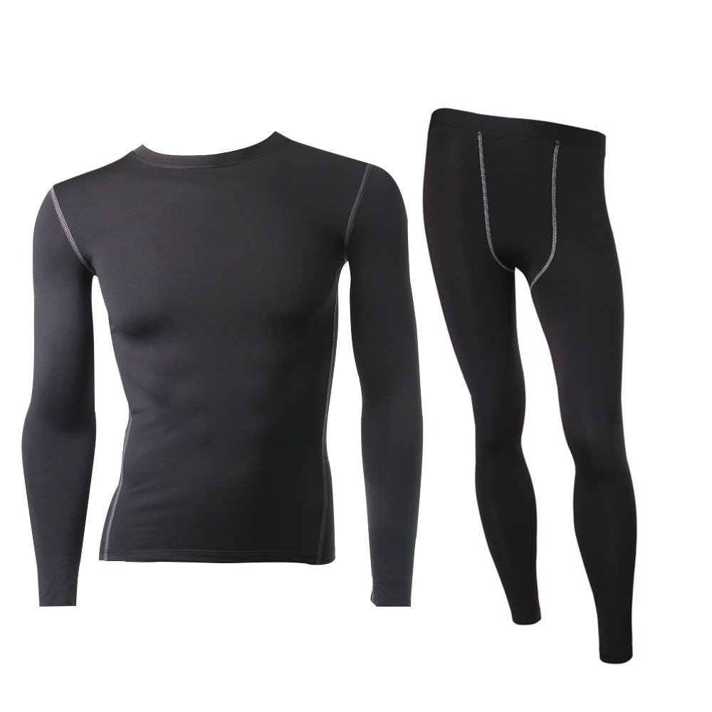 LANBAOSI Men's Thermal Compression Top& Bottom Fleece Lined Underwear Set