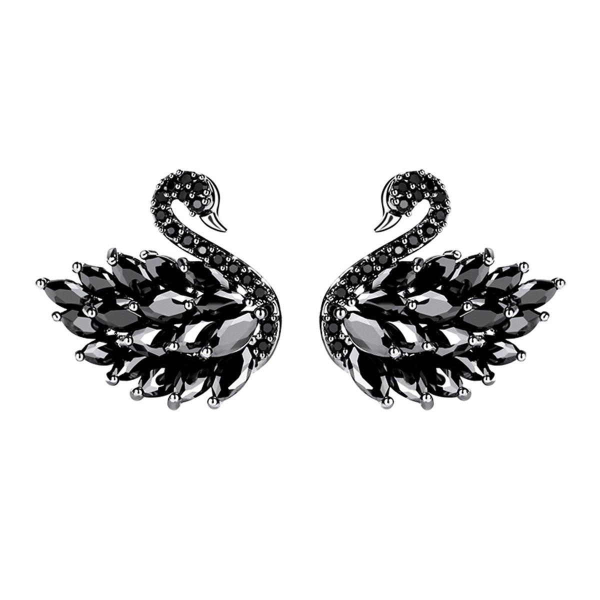 Merdia Lovely Swan Stud Earrings Cubic Zirconia Sterling Silver Pin for Women and Girls-Black Swan