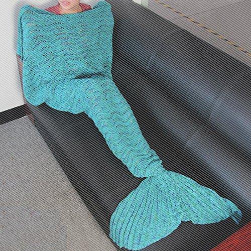 La Petite Sirène louvre sieste et queue de poisson climatisation couverture Couverture canapé et de la climatisation et de cadeaux créatifs ,140cm*70cm (enfants), Bleu